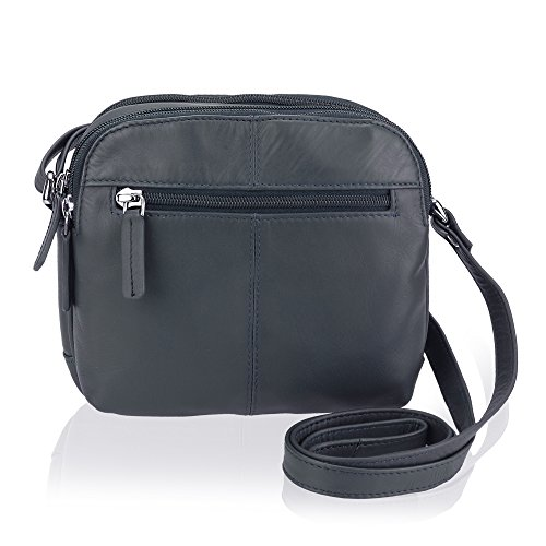 0d6530b42f8e Visconti 18939 Womens Leather Shoulder Messenger Handbag Bag Small Navy