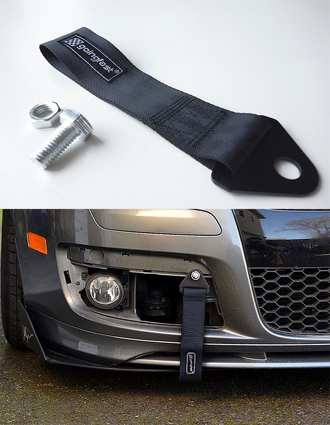 Heavy Duty High Strength Front Rear Bumper Hook Racing Tow Towing Strap Black